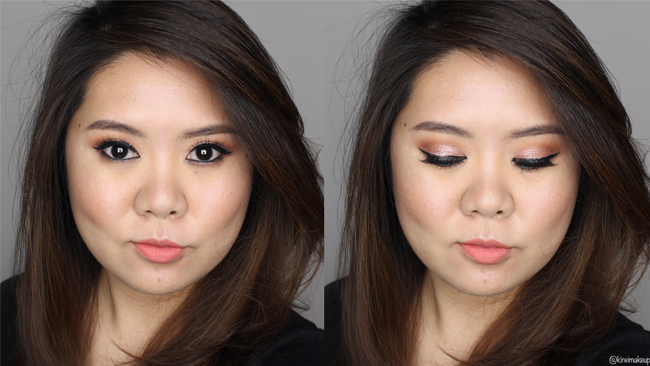 stila rose gold retro makeup look